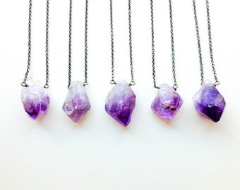 Raw Crystal Necklace: Amethyst