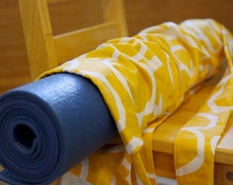 Two Strap Yoga Mat Bag - White Cirlces on Yellow