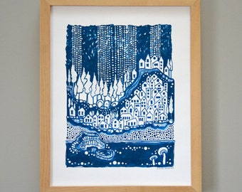 Blue Winter Acrylic Ink Illustration