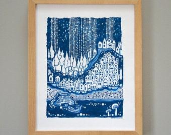 Blue Winter Acrylic Ink Illustration