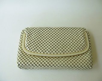 Vintage Clutch Mesh Purse, white, 60s, 70s, metal