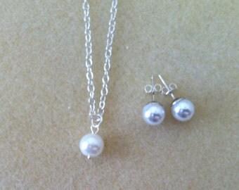 Flowergirl pearl pendant necklace and pearl stud earrings gift set -  weddings, flowergirl jewelry