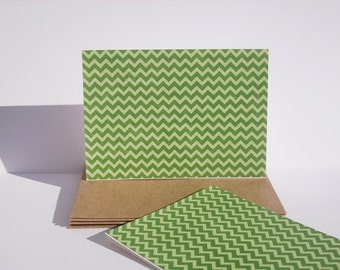 Chevron Note Cards - Green Chevron Stationery, Modern Geometric Thank You Notes, Clover Green Apple Green Stationery Set, St. Patrick's Day