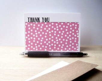 Modern Thank You Cards - Confetti Polka Dot Thank You Notes, Pink White Polka Dots, Baby Showers, Weddings, Birthday Thank You Card Set
