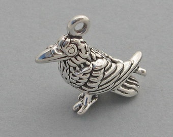 Sterling Silver 925 Charm Pendant 3D RAVEN CROW Bird Halloween