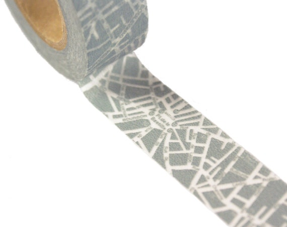 Washi tape Paris France SUBWAY MAP - blue-grey Masking Tape