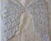 Sparkle SILVER on White large Wings SEW ON applique