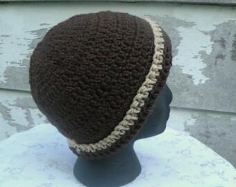 Man Hat, Adult Sized Crochet Hat, Rolled Brim, Dark Brown With Tan Trim