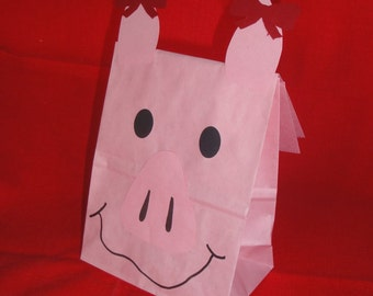 Pink Girl Pig Treat Sacks - Farm Ballerina Barnyard Theme Birthday Party Favor Bags by jettabees on Etsy