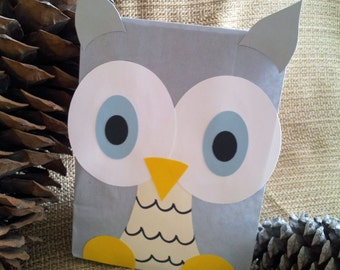 Gray Owl Treat Sacks - Winter Wonderland Snow Forest Nature Woodland Theme Birthday Party Favor Goody Bags by jettabees on Etsy