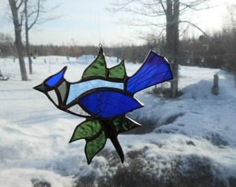blue jay, leaves II, stained glass suncatcher