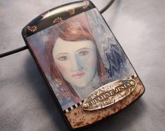 Face collage pendant--I believe Jesus