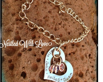 Personalized Hand Stamped Heart Bracelet