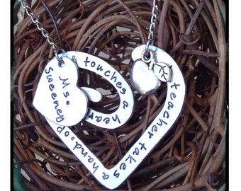 Personalized Hand Stamped Teacher necklace