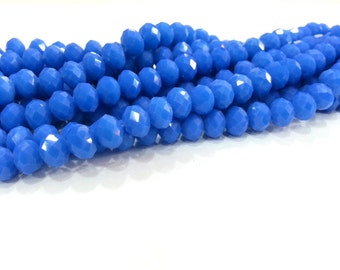 70 Pcs (8x6 mm) Dark Blue Rondelle Faceted Glass Beads , 1 strand approx.  45 cm  ( approx. 17,5 inch) G2517
