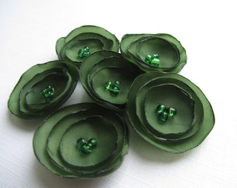 "Fabric flowers 1"" army green flowers, wedding, wedding table decorations, green flowers"