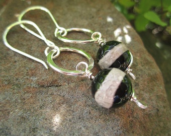 Dangly Black and White Tibetan Agate and Sterling Silver Earrings