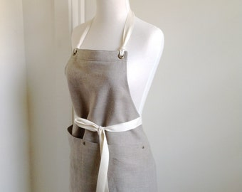 Full  Apron Woman   Short Mini Apron European Linen   Rustic Linen Apron  kitchen apron custom made apron