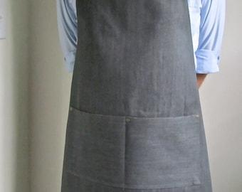 Full Apron Man Gray Denim Japanese Denim Kitchen Apron  Chef Apron
