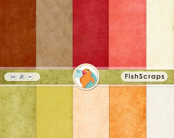 Autumn Digital Card stock Paper - Fall Solid Backgrounds in Apple Orchard Green, Red Delicious, Pumpkin Orange, & Cinnamon