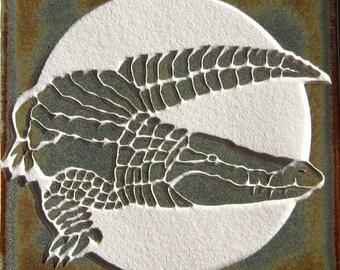 4x4 Crocodile Tile - Etched Porcelain Tile - SRA