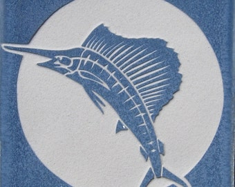 4x4 Sailfish - Etched Porcelain Tile - SRA