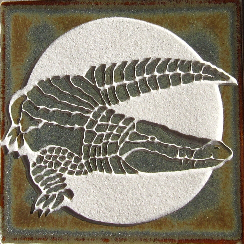 4x4 Crocodile Tile Etched Porcelain Tile Sra