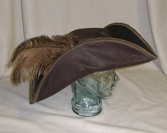 Brown Felt Pirate Hat- Classic Tricorn with Brown Feathers