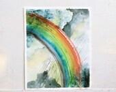rainbow painting, original watercolor painting rainbow, clouds, rain, skyscape, blue, rain, sunlight
