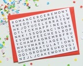 Wedding Day Word Search Card