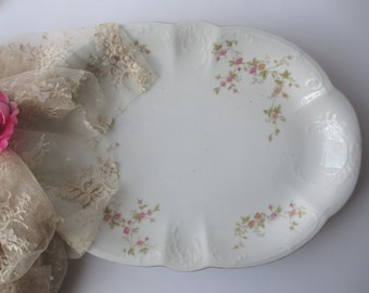 Vintage Carlsbad China Austrian Pink Floral Serving Platter - Shabby Cute