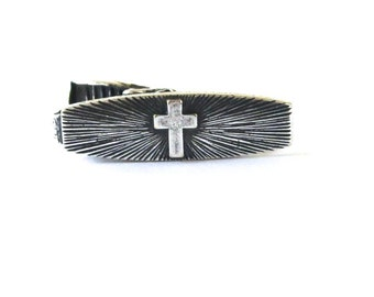 Cross Tie Bar- Sterling Silver Finish- Sunburst Cross- First Communion & Confirmation Tie Bar- Gifts For Men