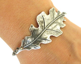 Steampunk Oak Leaf Bracelet- Sterling Silver Ox Finish