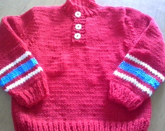 Handknitted Childs Boys Girls Henley Style Pullover Sweater