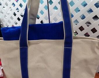 Personalized beach bag royal blue canvas boat bag tote royal blue beach towel