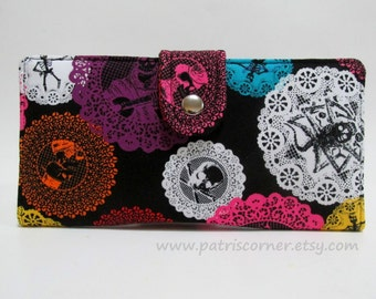 Handmade wallet for women Fiesta de Los Muertos - Day of the Dead - Colorful bright colors lace - ready to ship