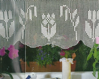 Crochet Lace Curtain/Valance - Spring flowers