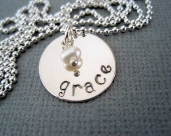 Grace name necklace-hand stamped pendant-sterling silver jewelry-inspirational-custom name charm-engraved necklace-statement jewelry-gift