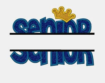Senior Name Drop Digital Embroidery Machine Applique Design 10813