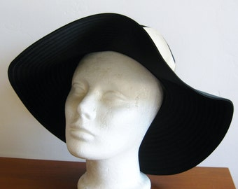Vintage 60s Lilly Dache Dachettes Two Tone Black Satin Wide Brim Hat