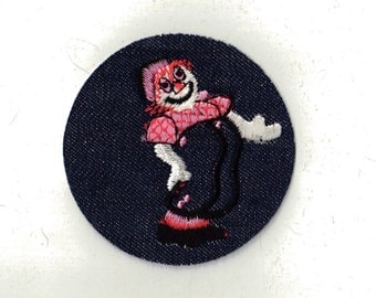 Happy Clown Circus Play Round circle Denim Iron on Patch Applique Collectible