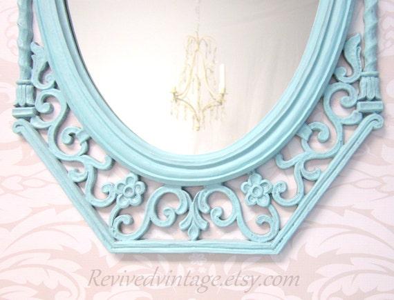 Shabby chic nursery mirror teal blue framed decorative mirror for Teal framed mirror