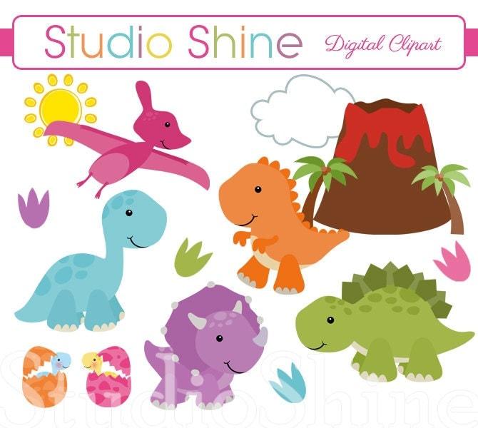 Dinosaur Clipart Digital Clipart Cute Dinosaurs by StudioShine (670 x 600 Pixel)