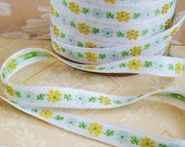 Vintage Spring Floral Woven Jacquard White Ribbon with Yellow & Pale Blue Flowers– 2 Yards
