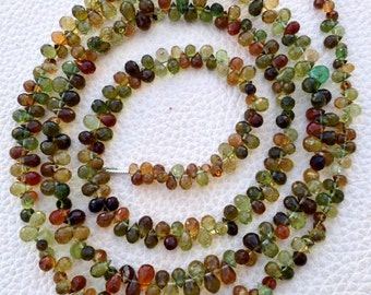 50 Pieces,Amazing Rare African Multi GREEN TOURMALINE Micro Faceted Drops,5-6mm, Amazing Rondelles,4 Inch Strand.Great Item