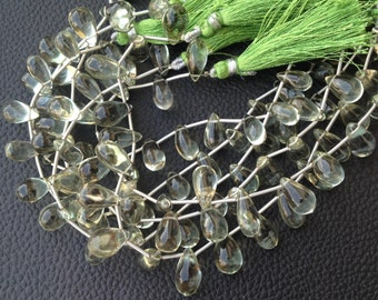 Full 7 Inch Strand,Very-Very-Finest Quality AAA,Green Amethyst Smooth Drops Shaped Briolettes, 10-12mm Long size,GORGEOUS
