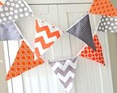 Bunting Banner Fabric Pennant Flags, Garland Orange, Grey, Chevron, Polka Dot, Quatrefoil, Baby Boy Nursery Decor, Wedding, Birthday Garland