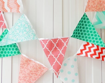 Fabric Banner, Bunting, Pennant Flags, Wedding Garland, Photo Shoot Prop, Baby Nursery Banner, Bridal Shower, Turquoise, Peach, Teal, Coral,