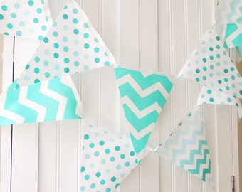 Fabric Banner, Bunting, Cotton Pennant Flags, Wedding, Baby Shower, Birthday Party, Baby Nursery, Teal, Aqua, Turquoise, Chevron, Polka Dots