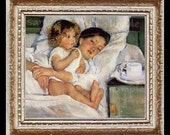 Mother's Morning Love Miniature Dollhouse Art Picture 6628